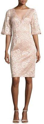Rickie Freeman for Teri Jon Short-Sleeve Floral Lace Cocktail Dress, Blush $560 thestylecure.com