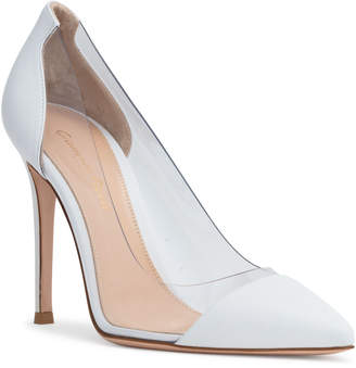 Gianvito Rossi Plexi 105 White Leather Pumps