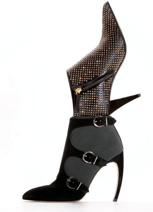 Giuseppe Zanotti Studded Pointy Ankle Bootie, Black/Golden