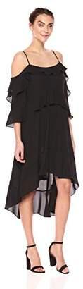 BCBGMAXAZRIA Azria Women's Lorelie Asymmetrical Tiered-Ruffle Dress