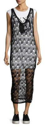 McQ Alexander McQueen 2-in-1 Sheer Netted V-Neck Midi Dress w/ Jersey Underlay, Black $630 thestylecure.com