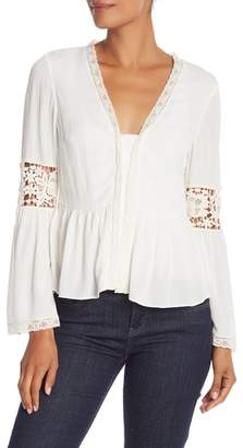 BCBGMAXAZRIA Long Sleeve Puckered Lace Top