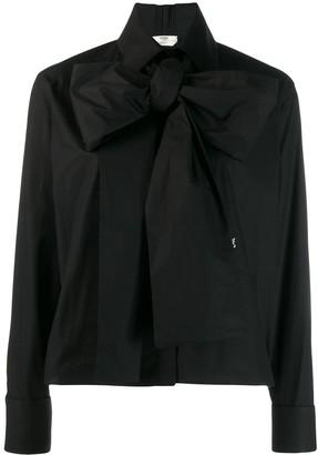 Fendi maxi-bow taffeta blouse