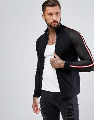 Asos Jersey Track Jacket with Mesh Sleeves & Taping