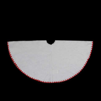 Asstd National Brand 26 Christmas Traditions Winter White with Red Shell Stitching Mini Christmas Tree Skirt