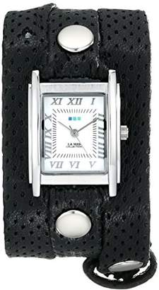 La Mer Women's LMSTW3004 Stainless Steel Watch with Black Perforated-Leather Strap