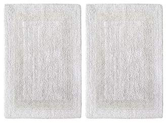 Cotton Craft 2 Piece Reversible Step Out Bath Mat Rug Set 17x24 White