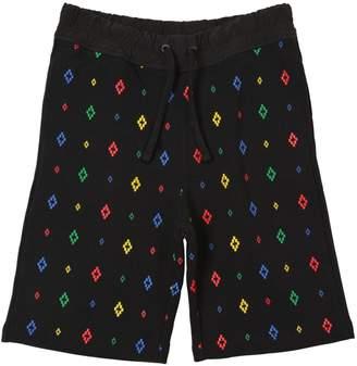 Marcelo Burlon County of Milan All Over Logo Print Cotton Sweat Shorts