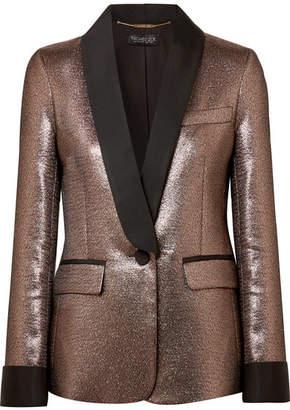 Rachel Zoe Toni Grosgrain-trimmed Metallic Jacquard Blazer - Bronze