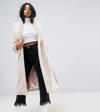 Asos Plush Faux Fur Coat with Belt