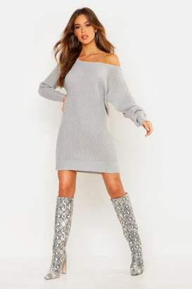 boohoo Soft Knit Slash Neck Jumper Dress
