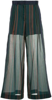 Sacai striped wide leg trousers