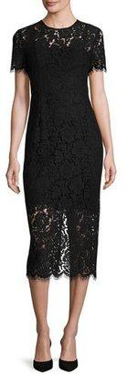 Diane von Furstenberg Carly Short-Sleeve Lace Midi Dress, Black $598 thestylecure.com