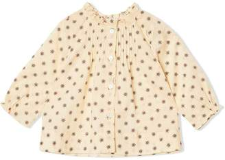 Burberry Ruffle Detail Star Print Cotton Blouse