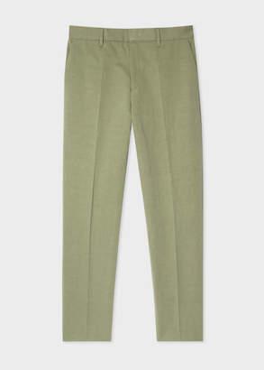 Paul Smith Men's Tapered-Fit Khaki Cotton-Linen Pants