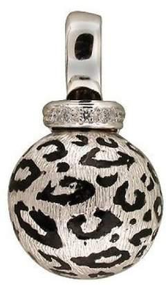 18K White Gold & Enamel with 0.05ct Diamond Cheetah Vintage Ball Pendant