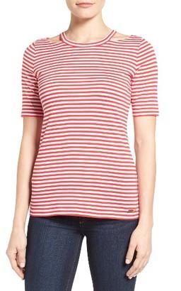 Women's Michael Michael Kors Stripe Detached Neck Tee $48 thestylecure.com