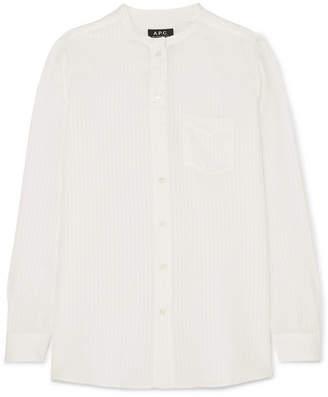 A.P.C. Marie Striped Satin Shirt - White