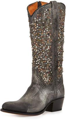 Frye Deborah Studded Vintage Leather Boots, Gray