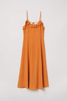 H&M Sleeveless Ruffle-trim Dress - Orange