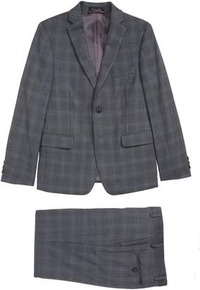 Hart Schaffner Marx Windowpane Check Wool Suit