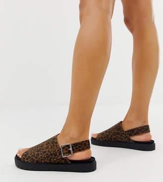 Monki leopard print slingback flatform sandals in brown