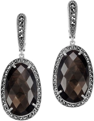 Suspicion Sterling Oval Brown Sapphire and Marcasite Earrings