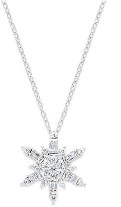 Macy's Diamond Snowflake Pendant Necklace in 14k White Gold (1/2 ct. t.w.)