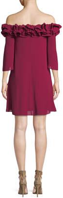 Halston Flowy Mini Dress w/ Ruffle Trim
