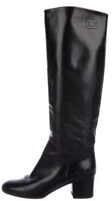 Chanel CC Leather Knee-High Boots Black CC Leather Knee-High Boots