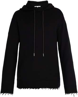 Helmut Lang Distressed wool hooded sweater
