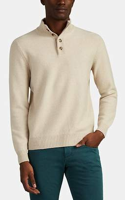 Loro Piana Men's Baby-Cashmere Four-Button Sweater - Beige, Tan