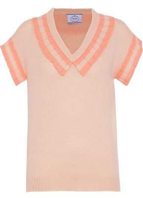 Prada Striped Ruffle-Trimmed Cashmere Sweater