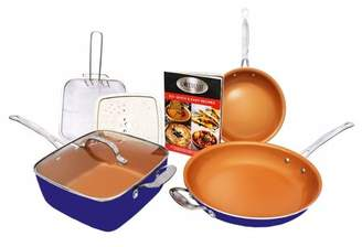 Gotham Steel Tastic Bundle 7 Piece Copper Cookware Set Titanium Ceramic Pan, As Seen on TV! Blue