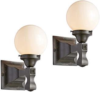 Rejuvenation Pair of Iron Entry Sconces w/ Opal Globes