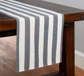 Pottery Barn Wheaton Wide Stripe Table Runner - Sailor Blue