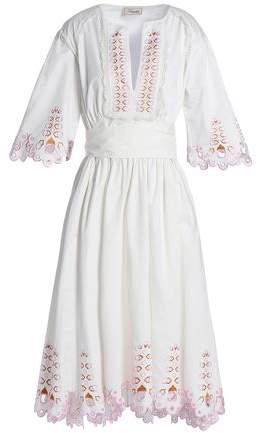 Amour Embroidered Cotton-Poplin Dress