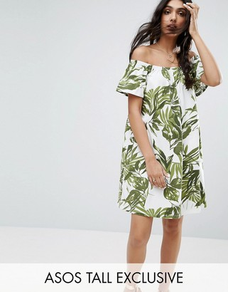 ASOS Tall ASOS TALL Palm Print Off Shoulder Mini Dress $28 thestylecure.com