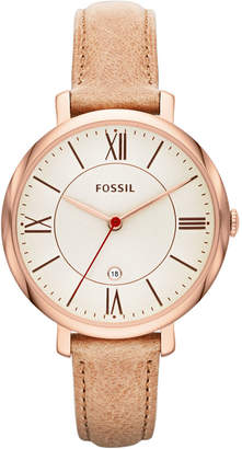 Fossil Women's Jacqueline Sand Leather Strap Watch 36mm ES3487