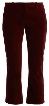 Saint Laurent Cropped Kick Flare Velvet Trousers - Womens - Burgundy