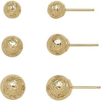 FINE JEWELRY 14K Yellow Gold Textured 3-pr. Ball Stud Earring Set