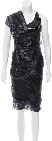 Balenciaga  Balenciaga Gathered Patent Leather Dress