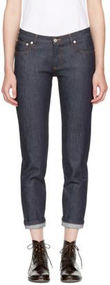 A.P.C. Navy Étroit Court Jeans $210 thestylecure.com