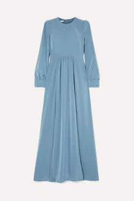 Co Gathered Crepe De Chine Maxi Dress - Light blue