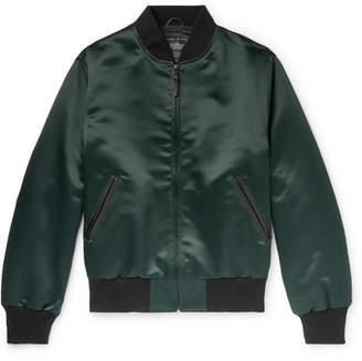 GoldenBear Golden Bear - Leather-Trimmed Satin Bomber Jacket - Men - Green
