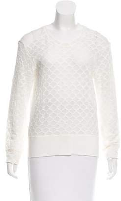 Raquel Allegra Lace-Accented Long Sleeve Top