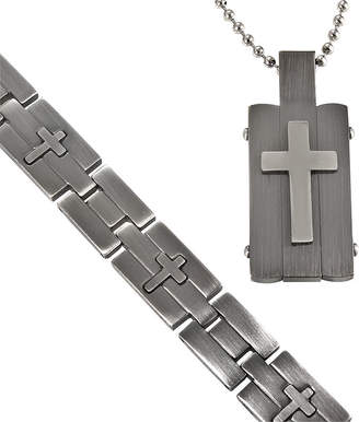 JCPenney FINE JEWELRY Men's Stainless Steel Cross-Embossed Dog Tag & Bracelet in Valet Box