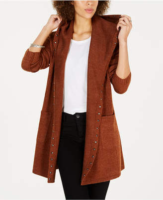 Style&Co. Style & Co Petite Stud-Trim Hooded Cardigan, Created for Macy's