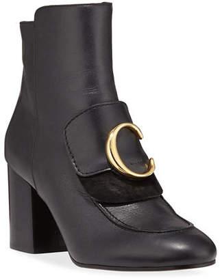 Chloé C Leather Zip Booties