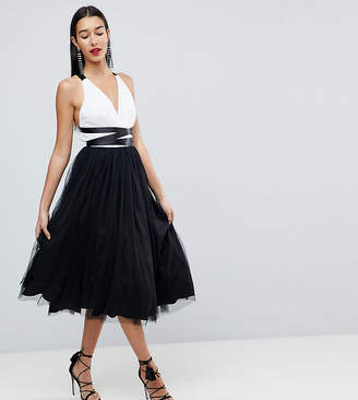 Asos Tall TALL PREMIUM Tulle Midi Prom Dress With Ribbon Ties